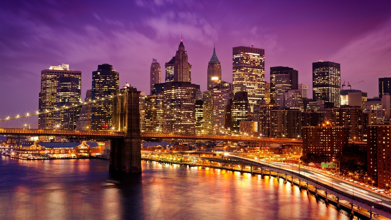 Puente De Brooklyn En Night Cities Fondo De Pantalla Hd