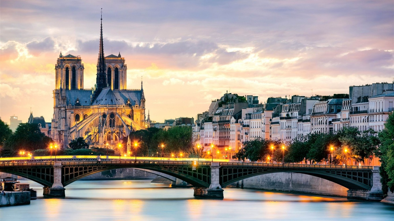Beau Coucher De Soleil à Paris Villes Hd Fond D écran Aperçu