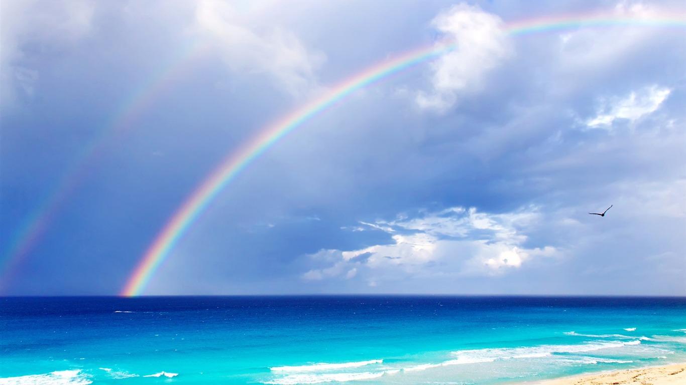 Double Rainbow Over Beach 2014 Hd Desktop Wallpaper