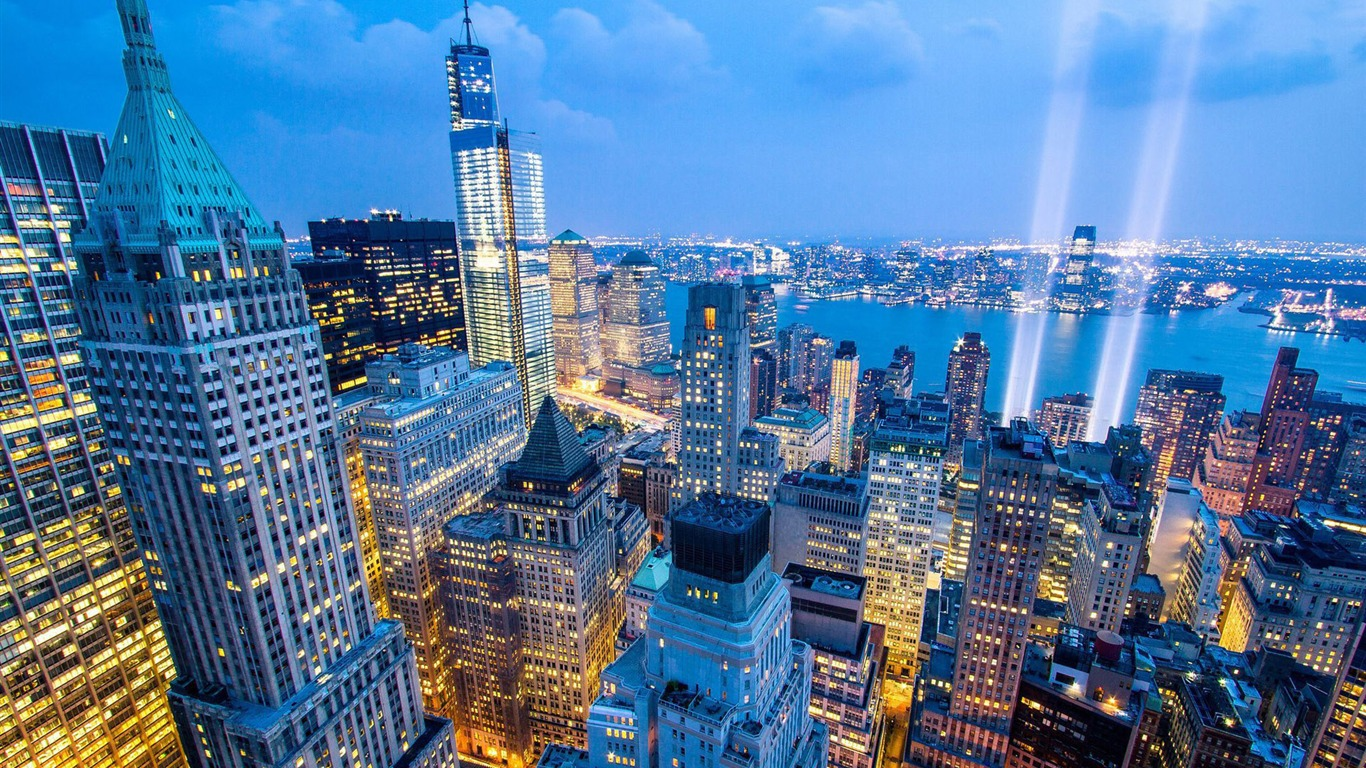 New York Nuit Skyline Ville Fond Décran Aperçu