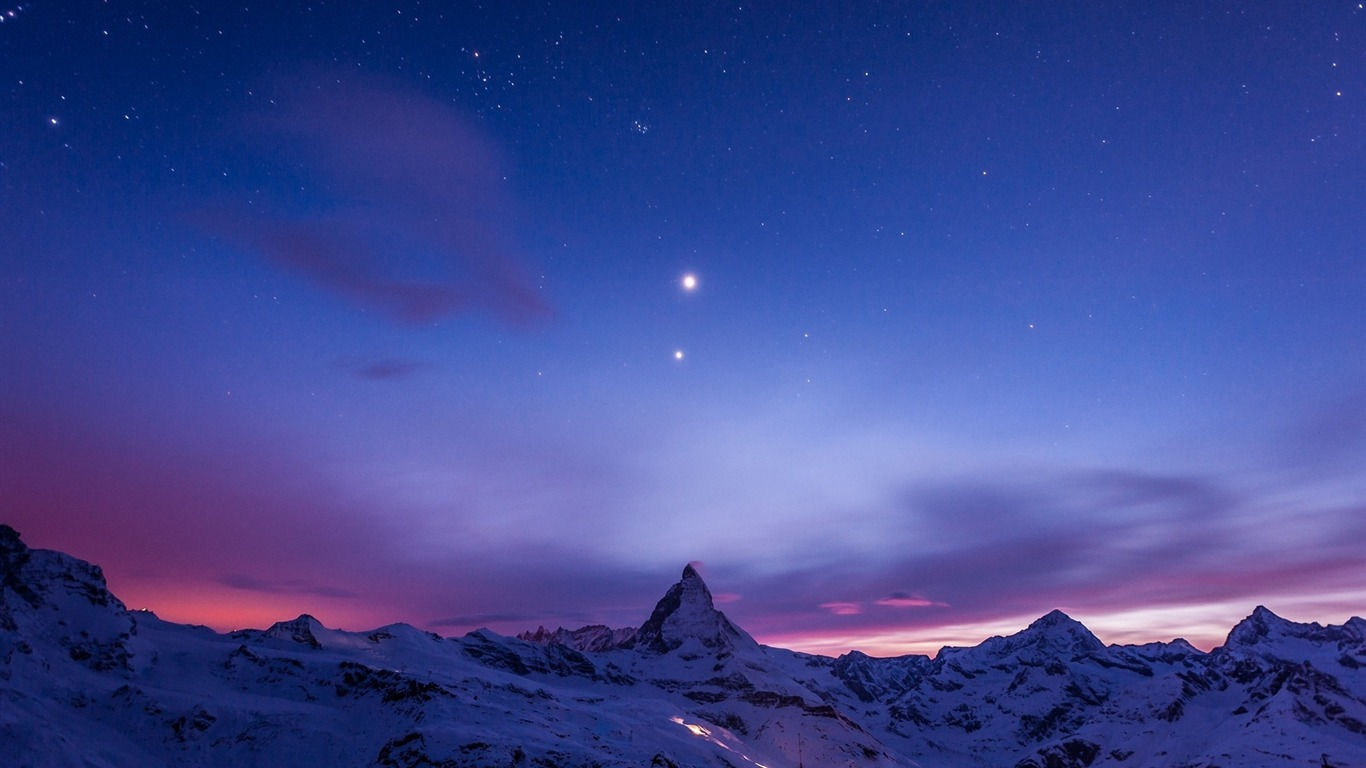 Beautiful Night View Of Snow Mountain Windows 10 Wallpaper Preview