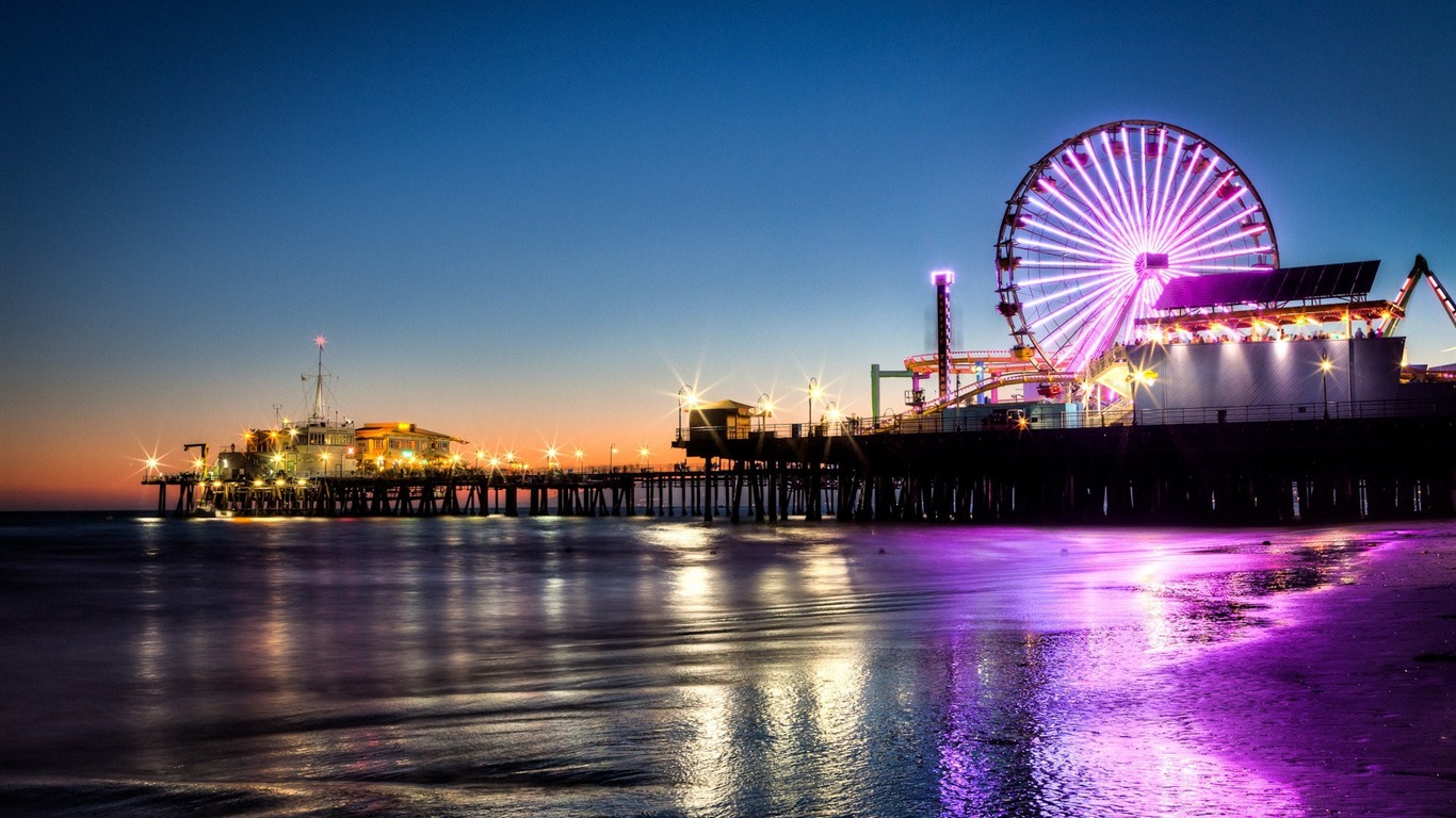 Santa Monica Night City Fondo De Pantalla Hd Avance