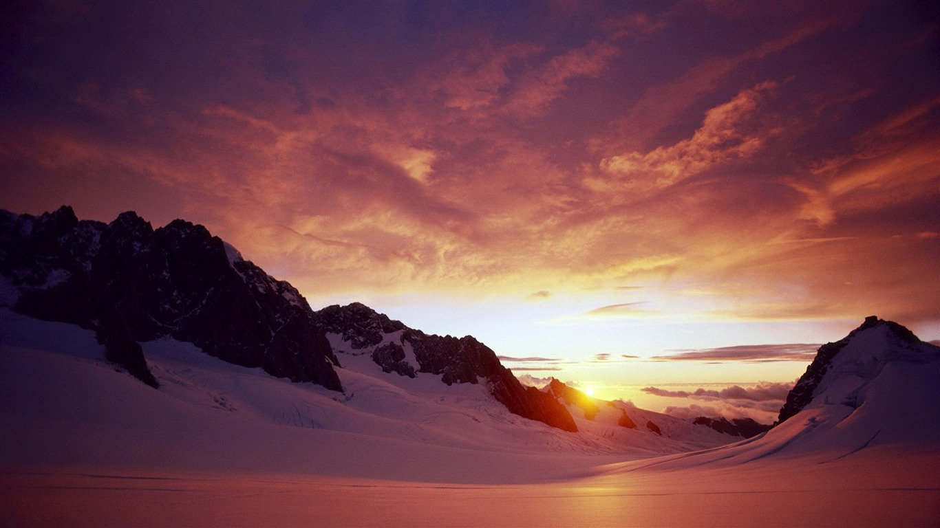 Sunset From Ice Mountain Landscape Wallpaper Preview