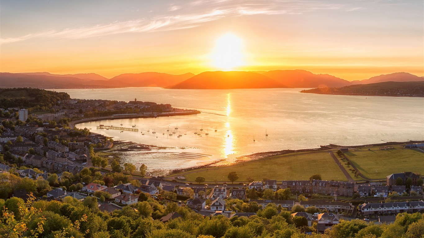 Sunset Gourock Town Scotland Hd Widescreen Wallpaper Preview