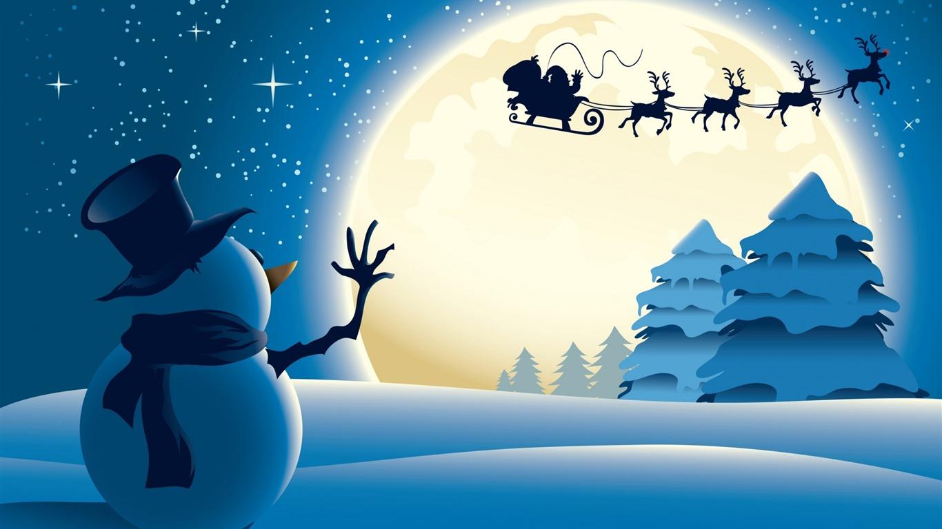サンタクロース雪だるまのイラスト 2016 メリークリスマス壁紙プレビュー