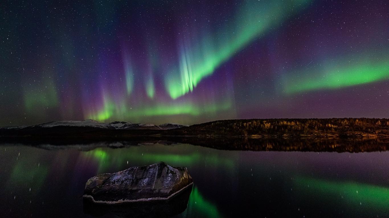 Night Norway Northern Lights Perfect Scenery Fondo De