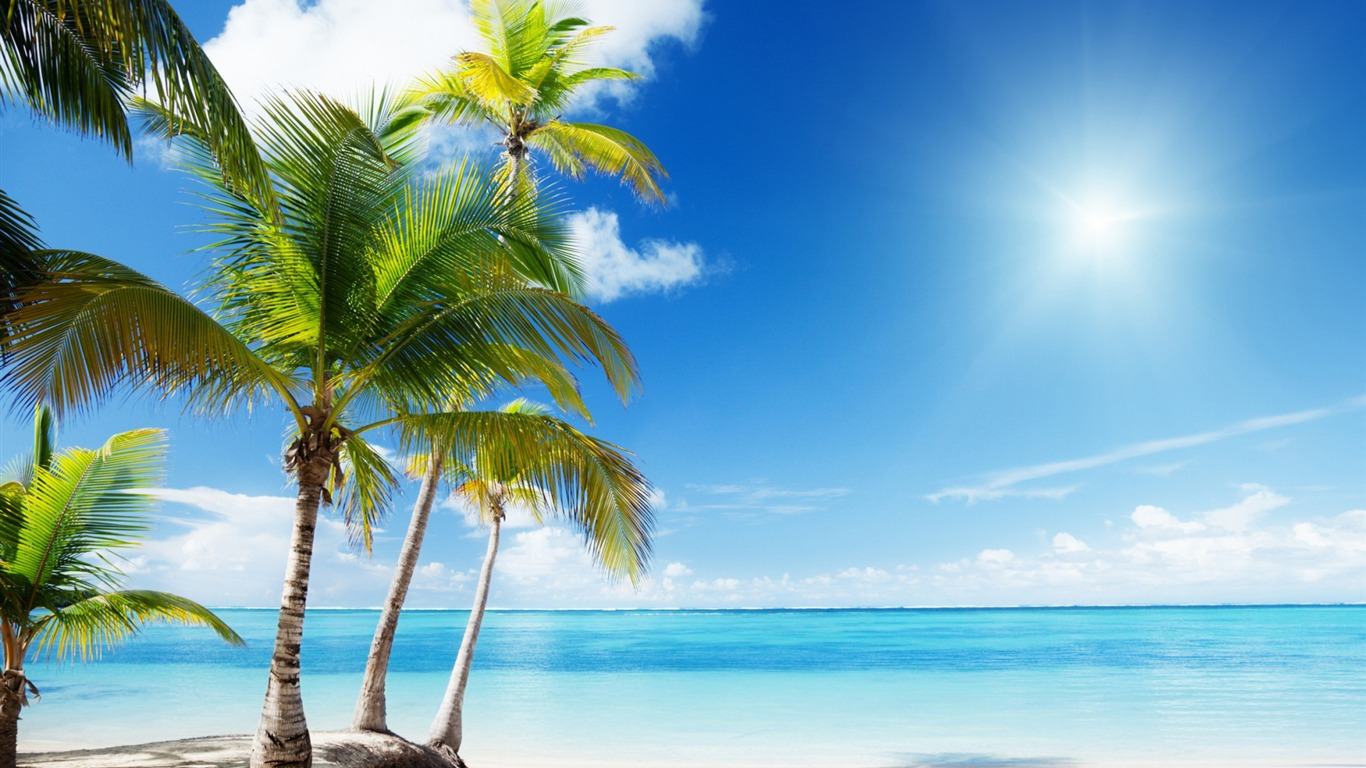 Captivating Landscape / Tropical Beach Paradise Sunshine Summer Scener..  Tropical_beach_paradise_sunshine Summer_Scenery_HD_Wallpaper