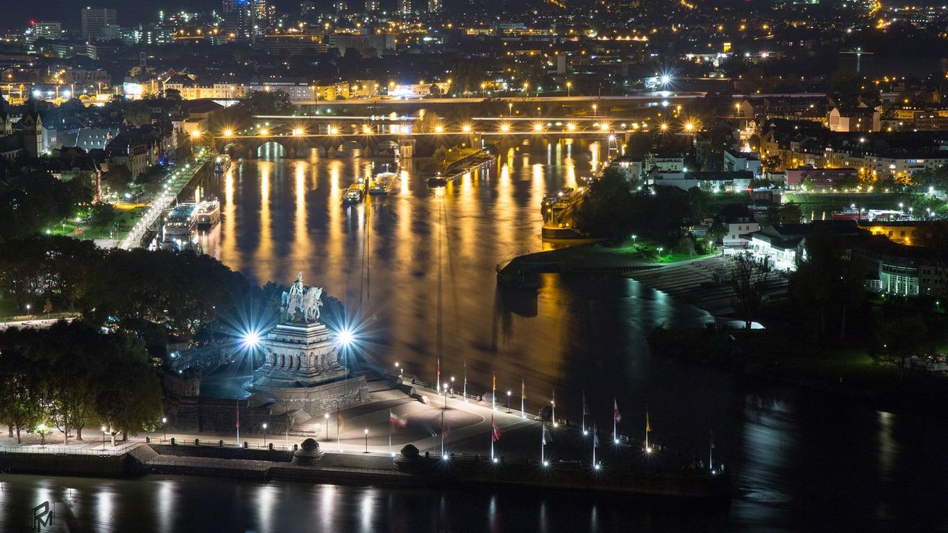 Germany Riverside City Night Photography HD Wallpaper