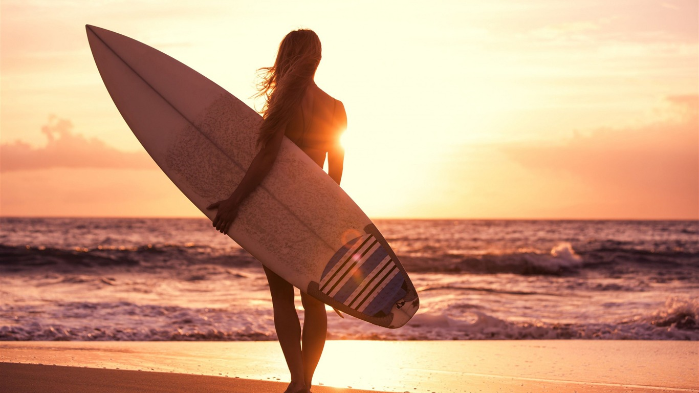 Girl Beach Surfing Sun Sea Fitness Photo Wallpaper Preview