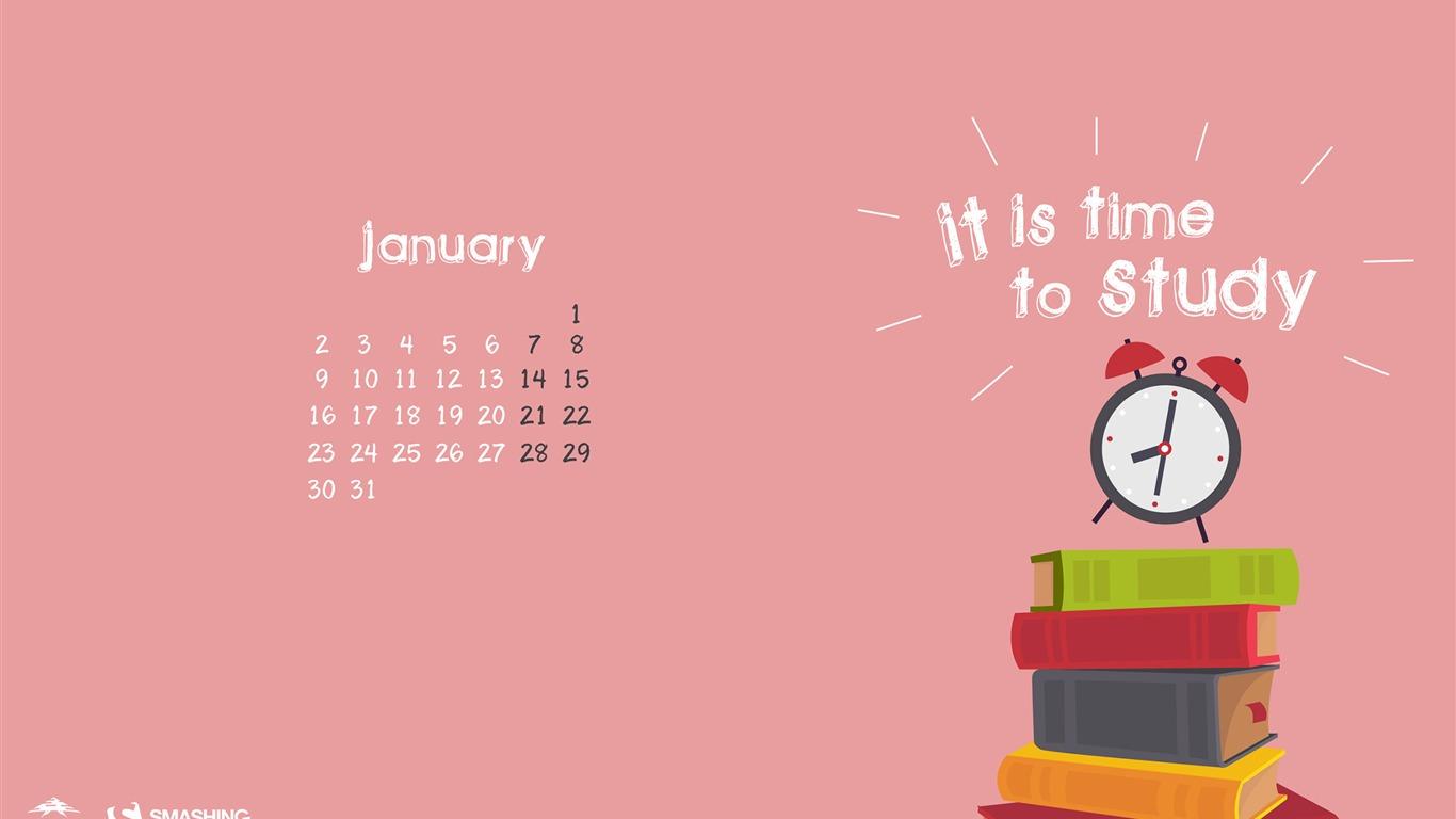 目を覚まして勉強する時間です 2017年1月のカレンダー壁紙プレビュー