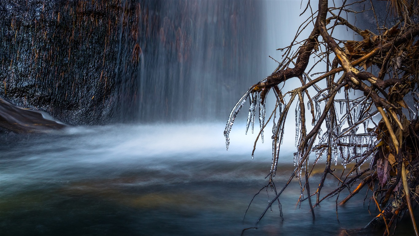 Forest_scenic_view_of_waterfall-Winter_Landscape_HD_Wallpaper