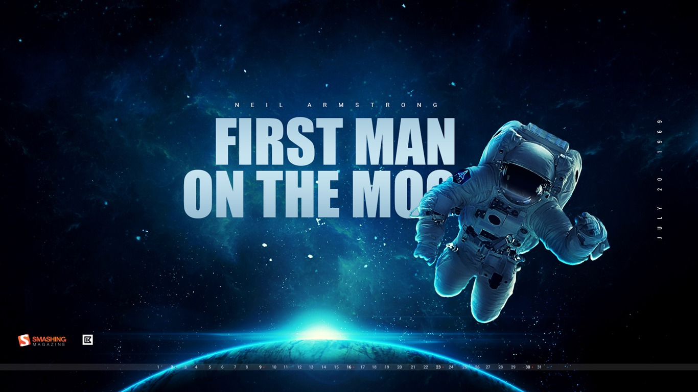 First Man On The Moon July 2017 Calendar Wallpaper Preview