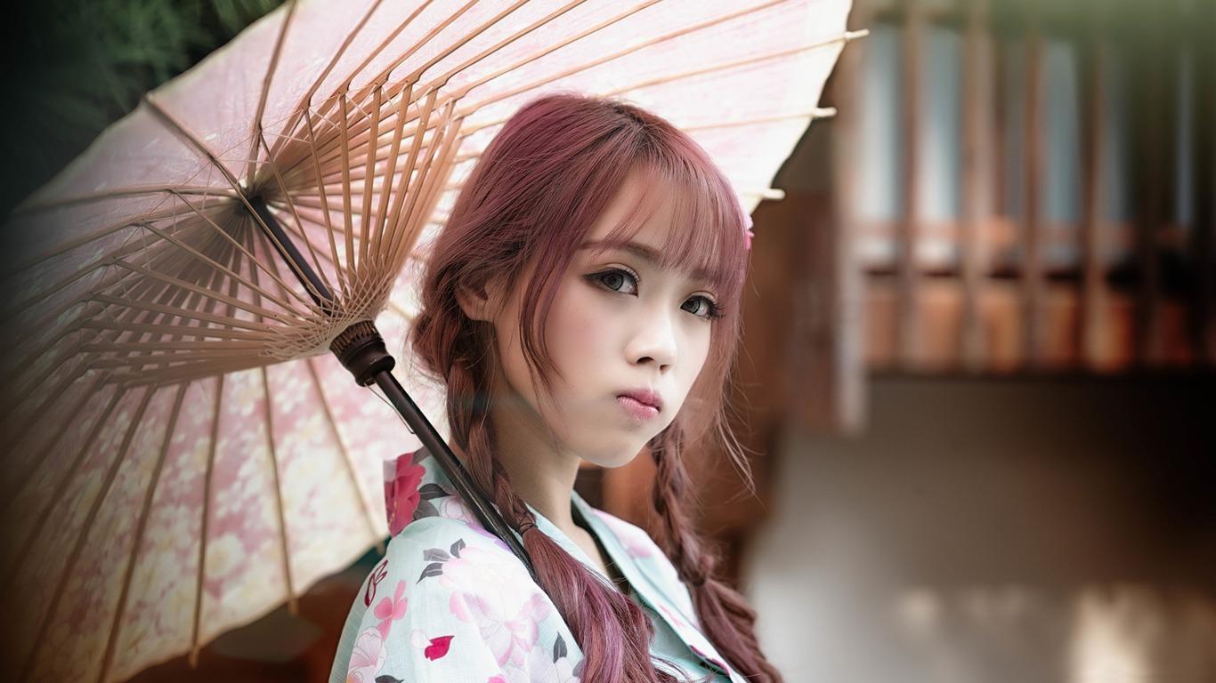 Beautiful Girl Girl Umbrella Model Photo Hd Fondo De