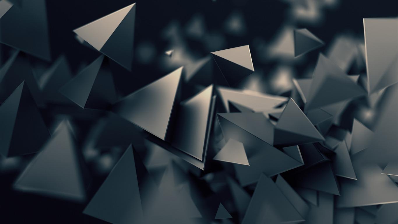 Gris Oscuro 3d Triángulos 2017 Diseño Hd Wallpaper Avance