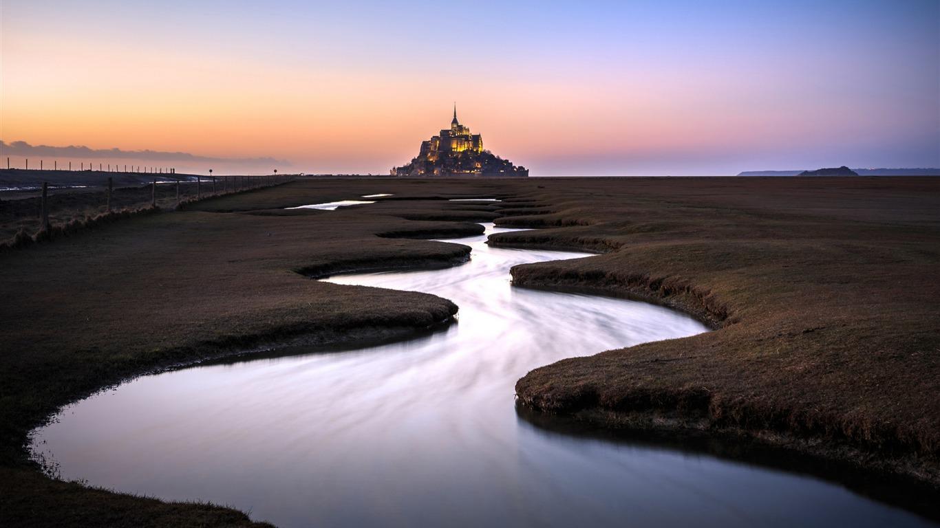 France Saint Michel Sunset Foto Hd Wallpaper Avance