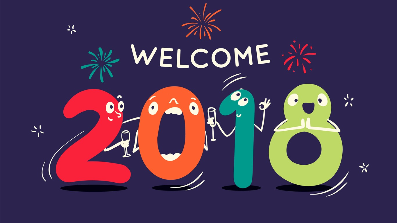 Cartoon Digital Welcome 2018 Año Nuevo 4k Hd Fondos De