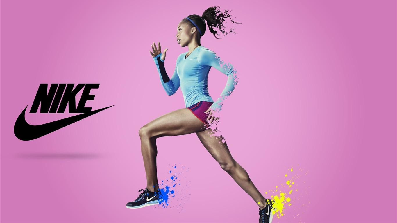 Nike Marque Annonces Affiche Fille En Cours D Execution