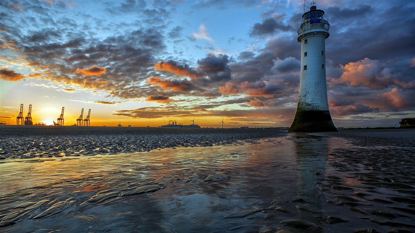 Harbor_Coast_Beach_Lighthouse_Sunset_Scenery