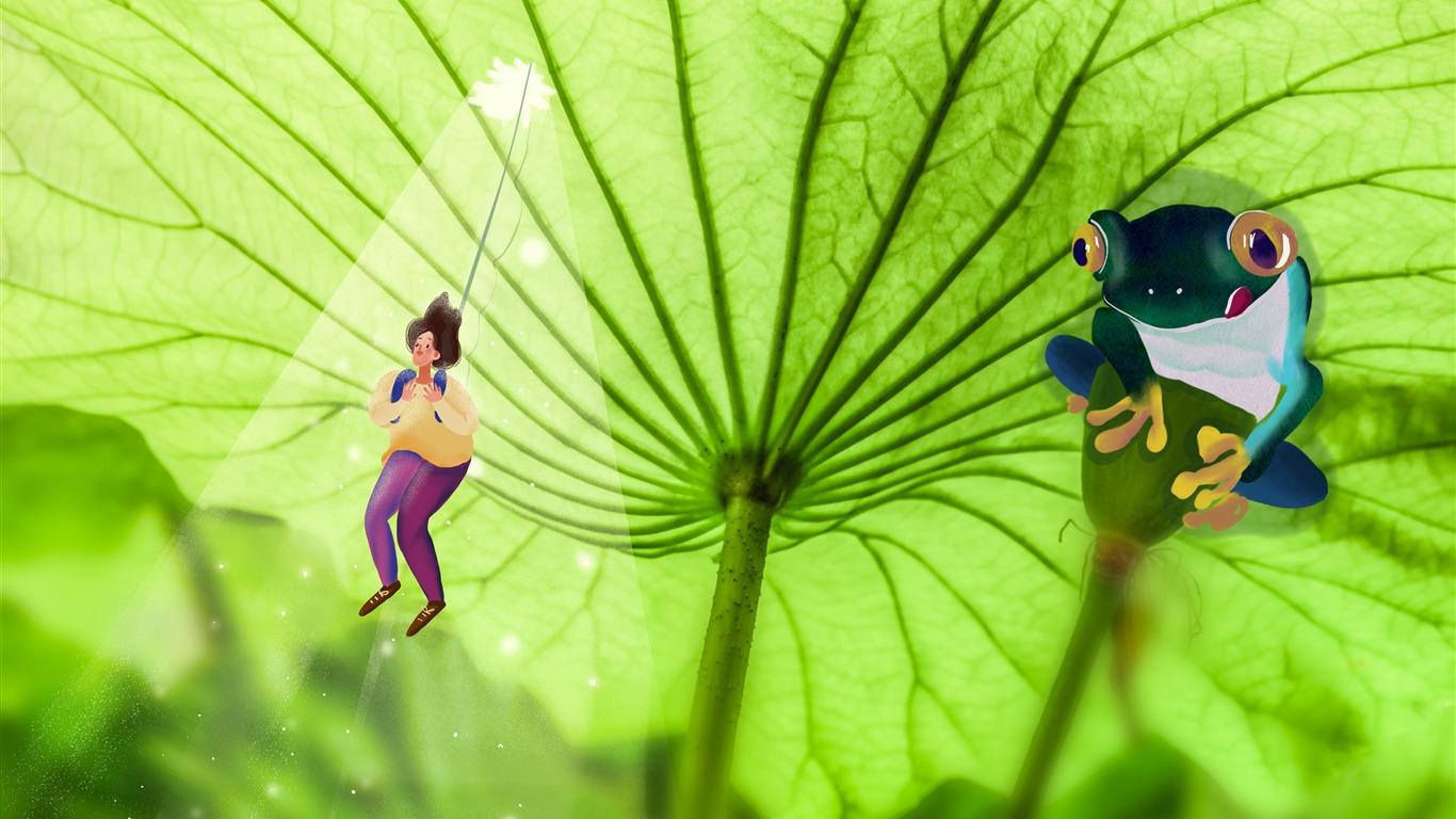 新鮮な 緑 蓮の葉 カエル 女の子 イラストプレビュー