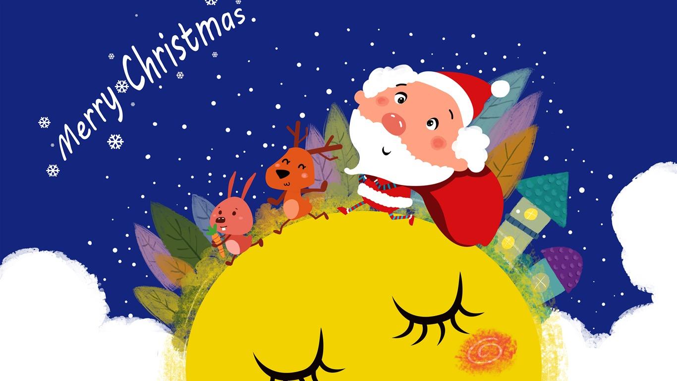Mignon Dessin Animé Wapiti Père Noël Joyeux Noël Aperçu