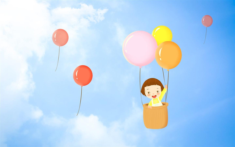 卡通,可爱,女孩,蓝色的天空,多彩,气球预览 10wallpaper Com