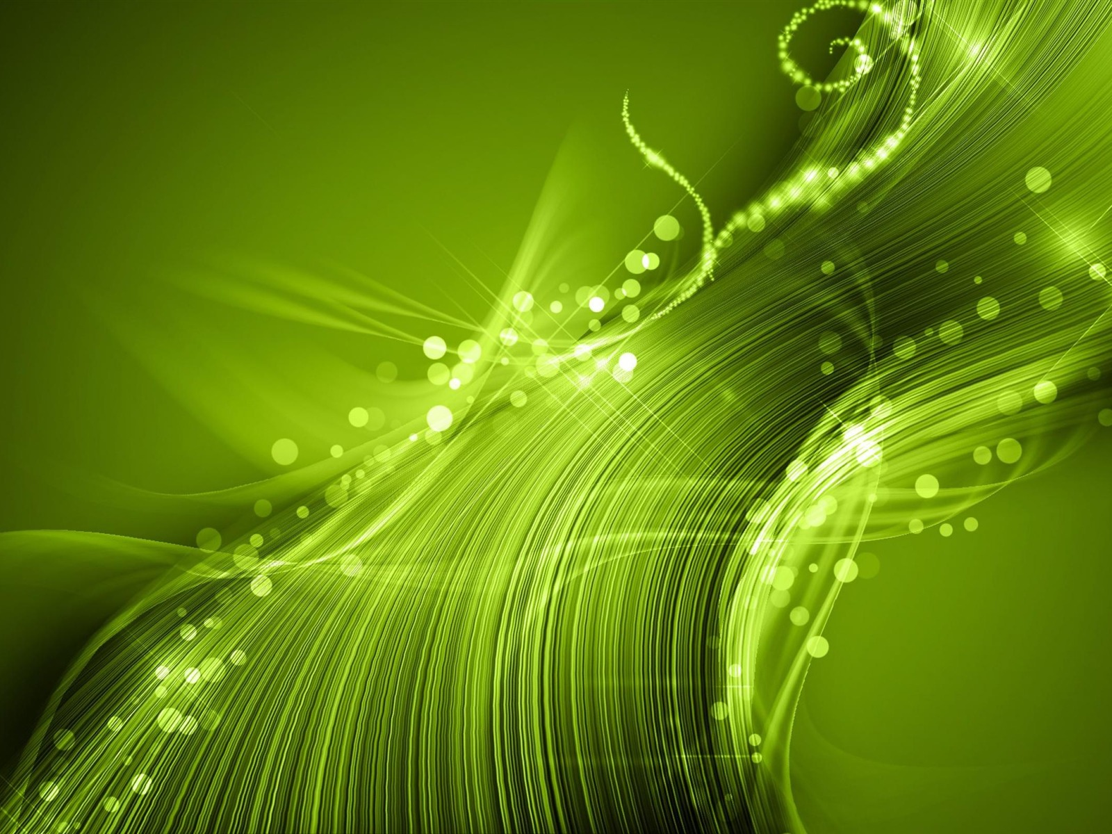 Design Green Lights Wave Star Abstract Art Wal