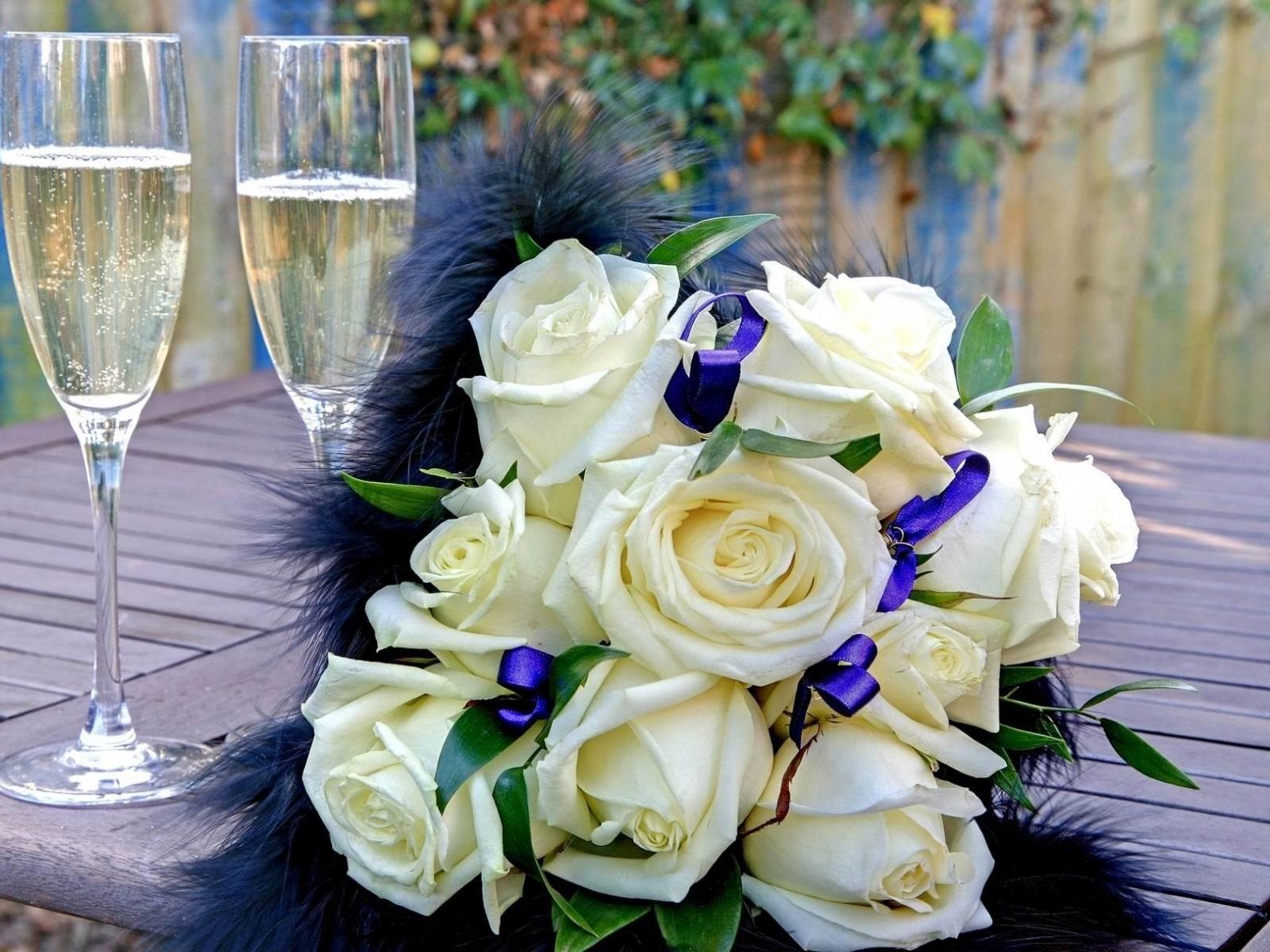 Rose Bouquet Ruban Fleurs Photographie Fond D Ecran Apercu