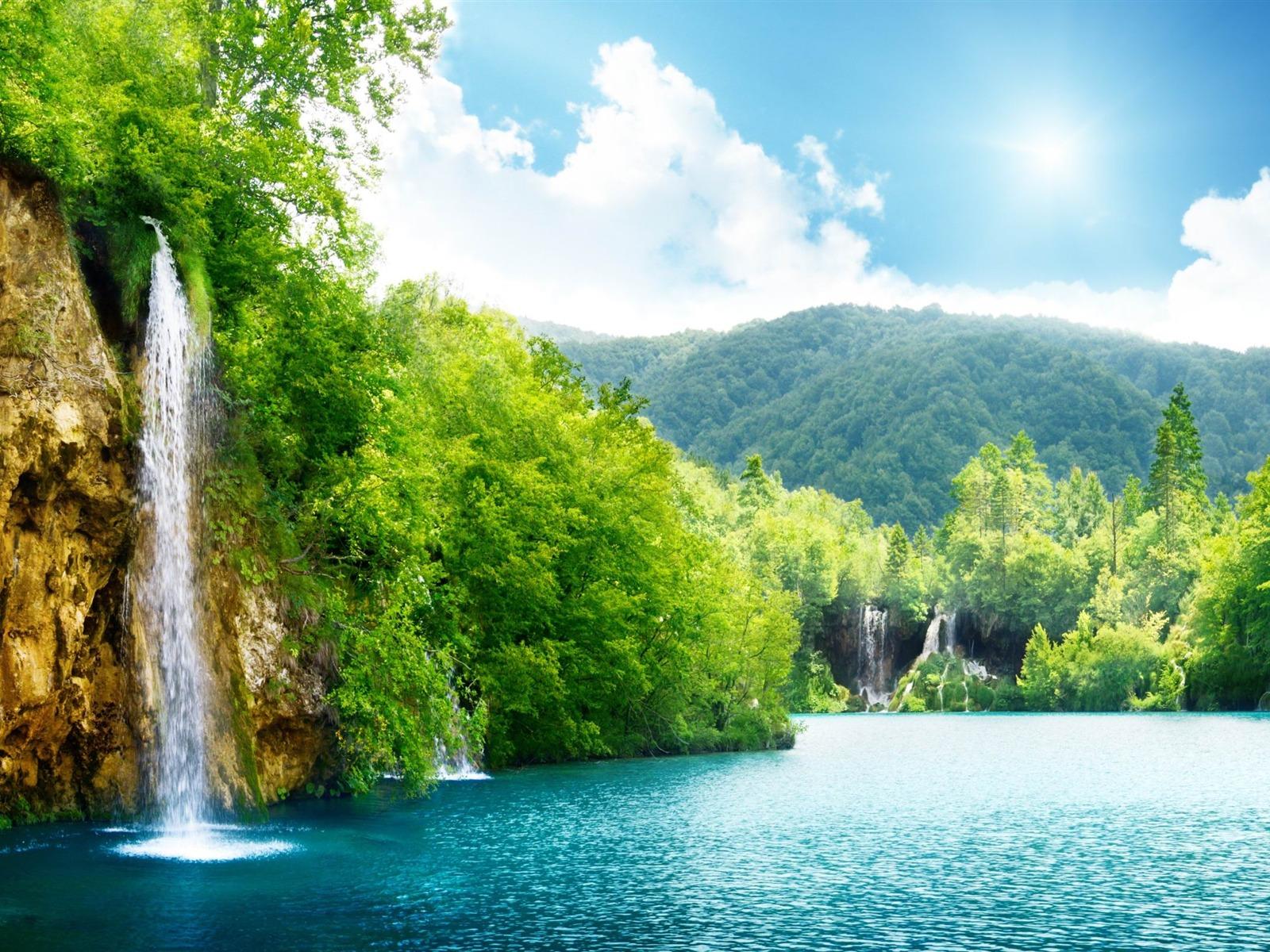 Cascade lac d 39 t paysage hd fond d 39 cran 1600x1200 for Fond ecran ete hd