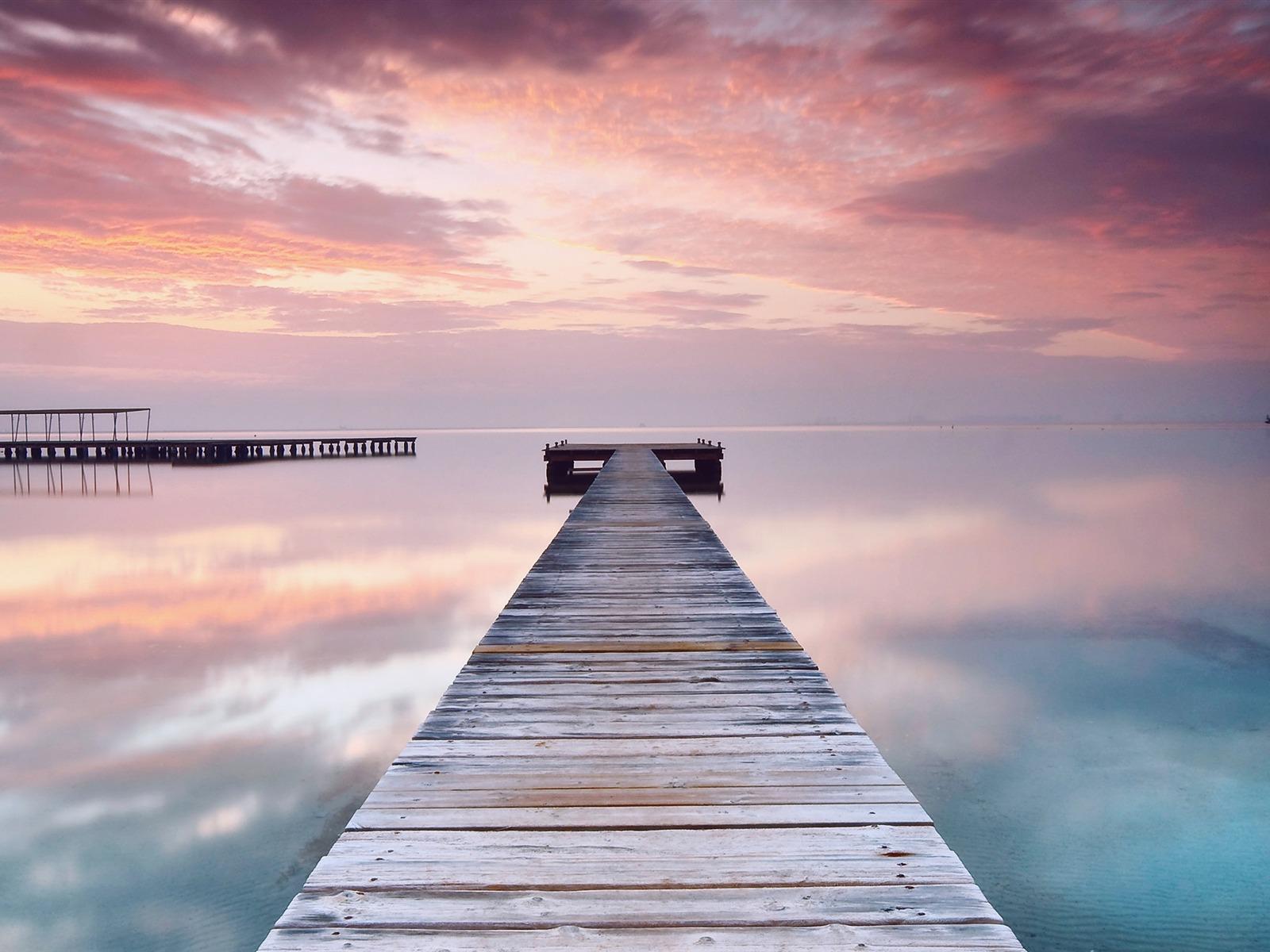 Espagne ciel rose nuage pont océan-2017 Paysage Fond d'écran Aperçu | 10wallpaper.com