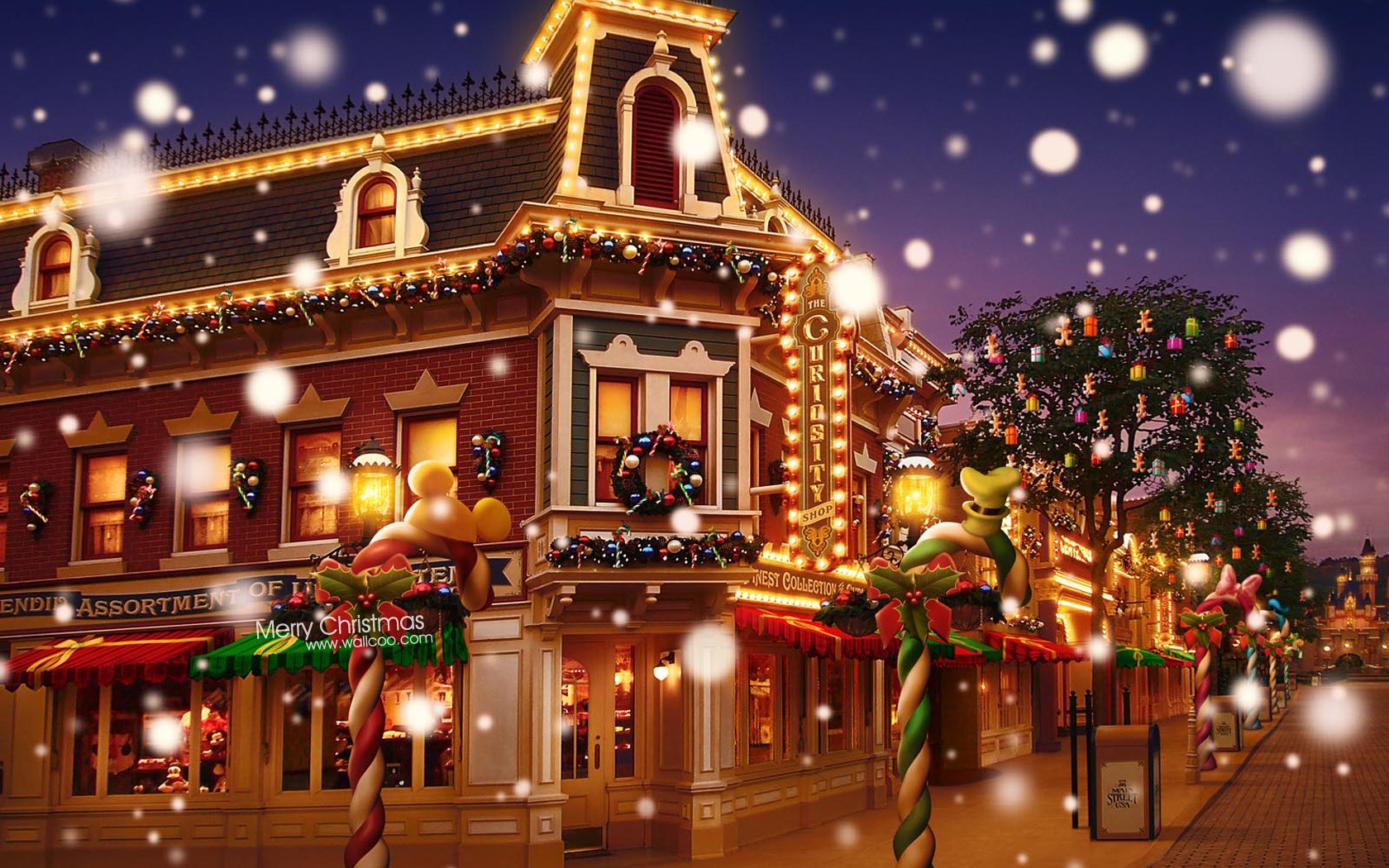 dream christmas town - disneyland colorful christmas wallpaper