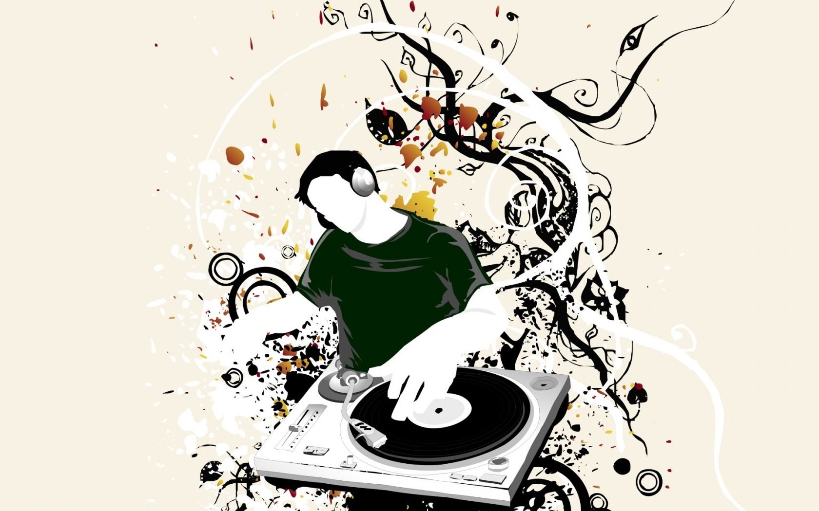 DJ矢量 插画设计桌面壁纸图片