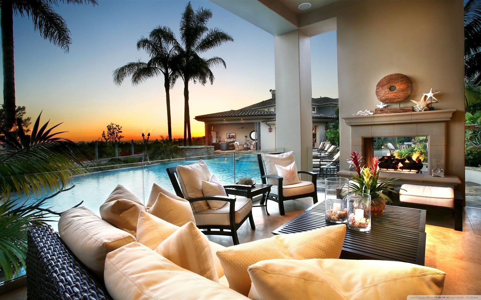 beautiful house-Architecture Decoration landscape wallpaper ...
