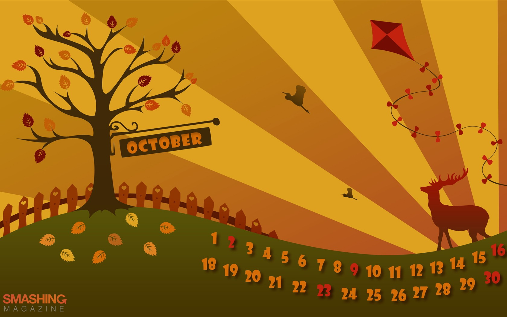 Pretty Autumn October 2011 Desktop Calendar Wallpaper Preview 10wallpaper Com