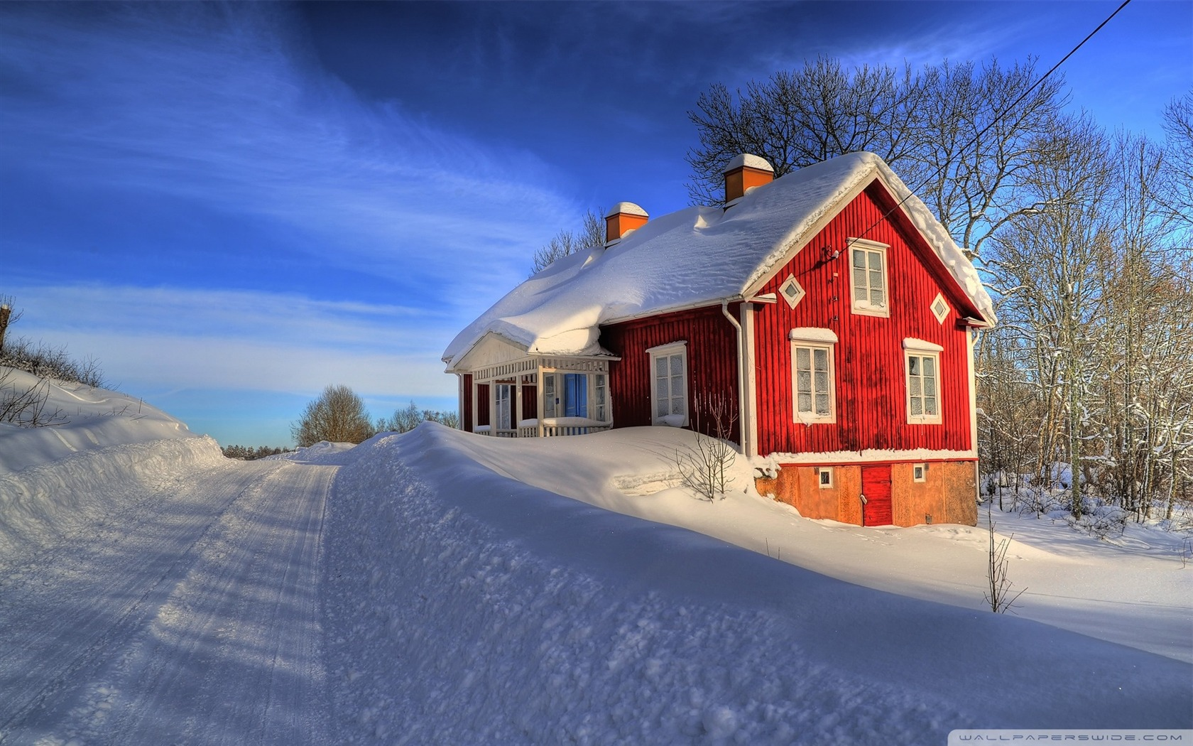 Red House Winter Desktop Wallpaper Winter Scenery