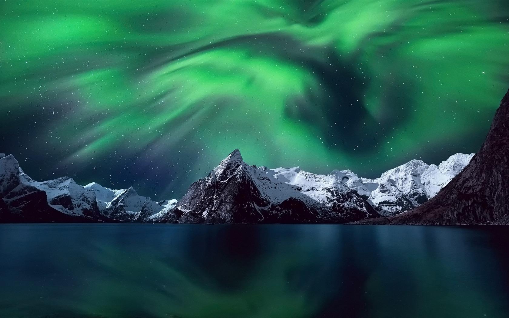 Fondo De Pantalla Paisaje Montañas Nevada: Luces Del Norte Montañas Nieve-Paisaje Perfecto Fondo De