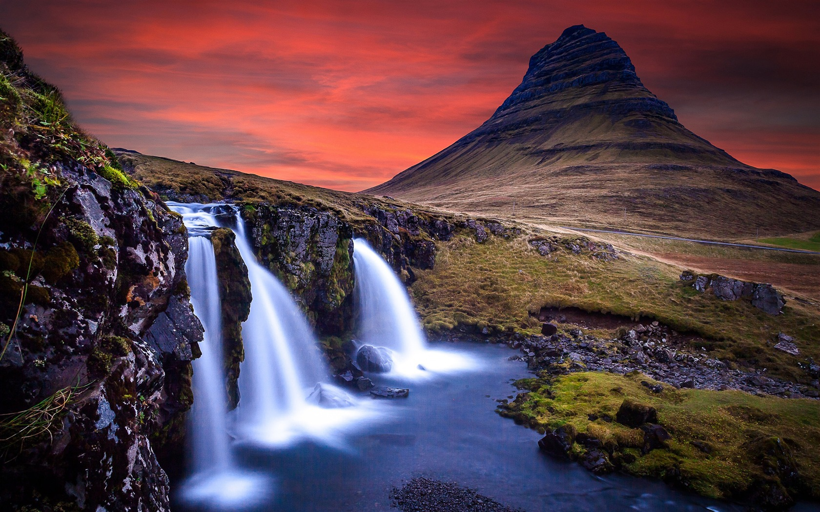 Sunset Waterfall Iceland Scenery Photo Hd Wallpaper