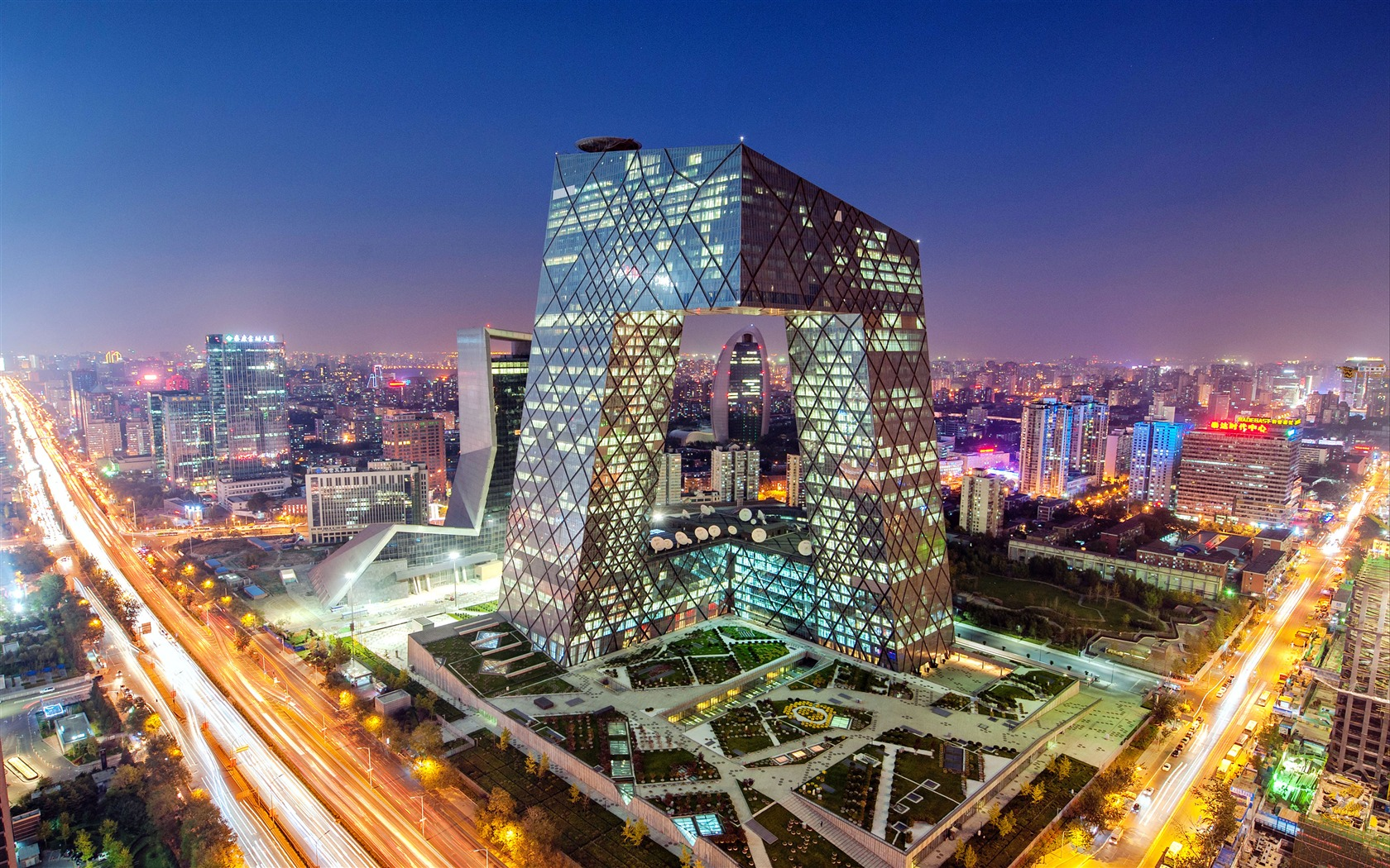 繁华都市_中国,北京,中央电视台,总部大楼,照明预览   10wallpaper.com