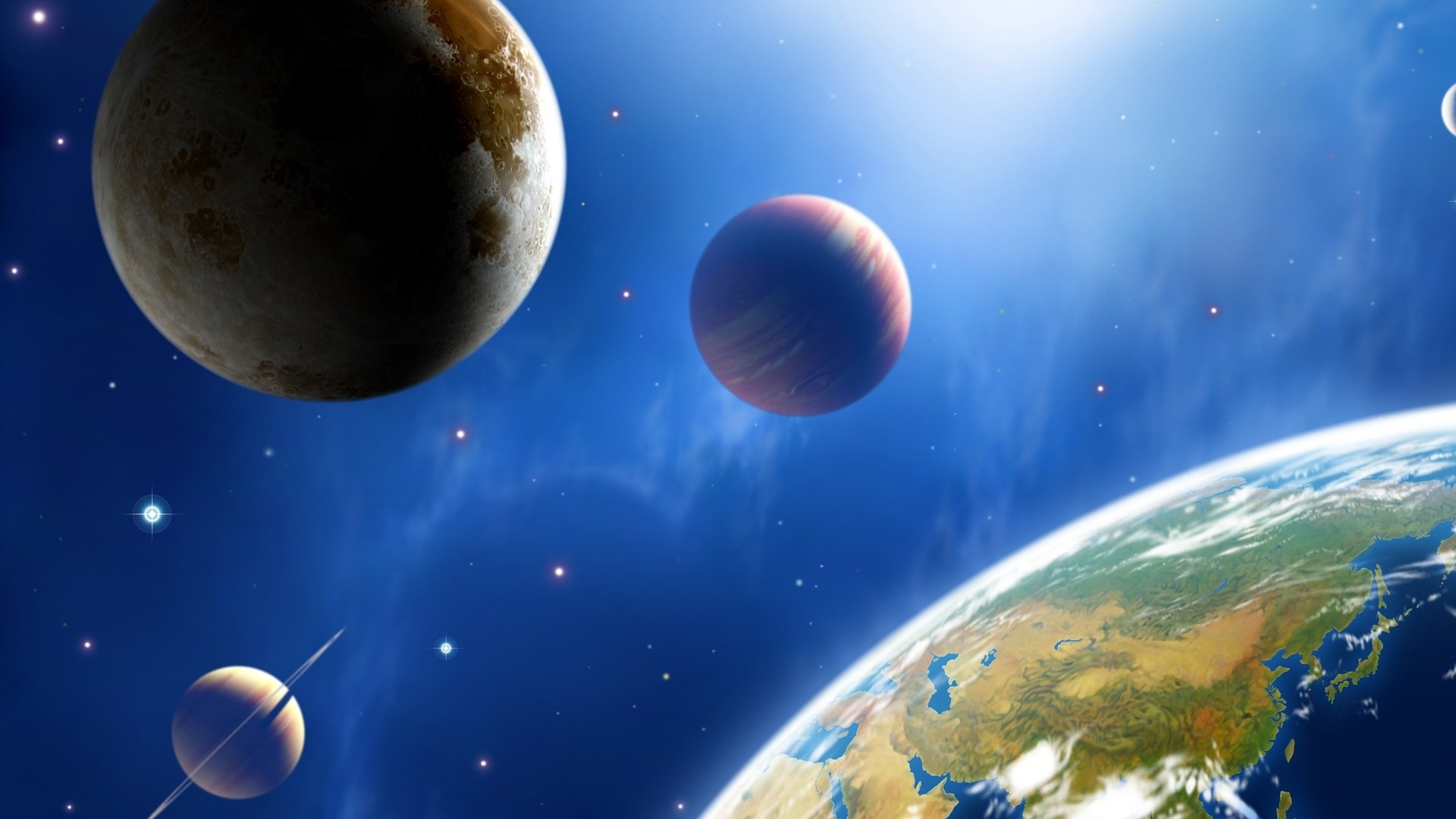 Astronomical Art Blue Earth Planets And Universe Preview