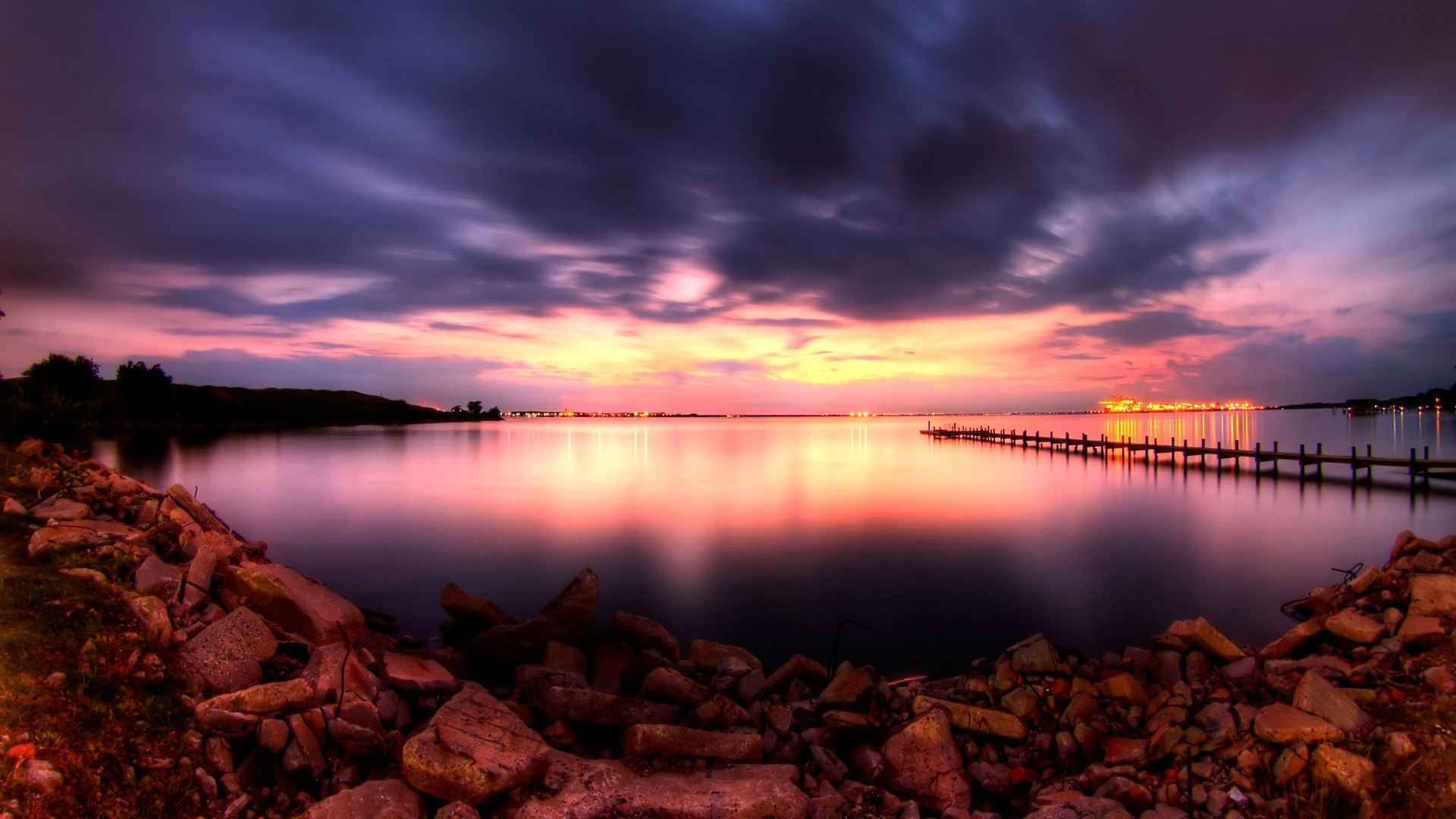 Hdr Sunrise And Sunset Landscape Wallpaper 04 Preview