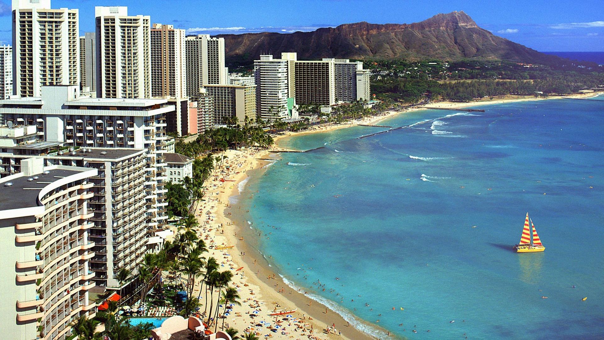 Waikiki Beach Wallpaper Hd: ハワイ - ダイアモンドヘッドとワイキキビーチの壁紙プレビュー