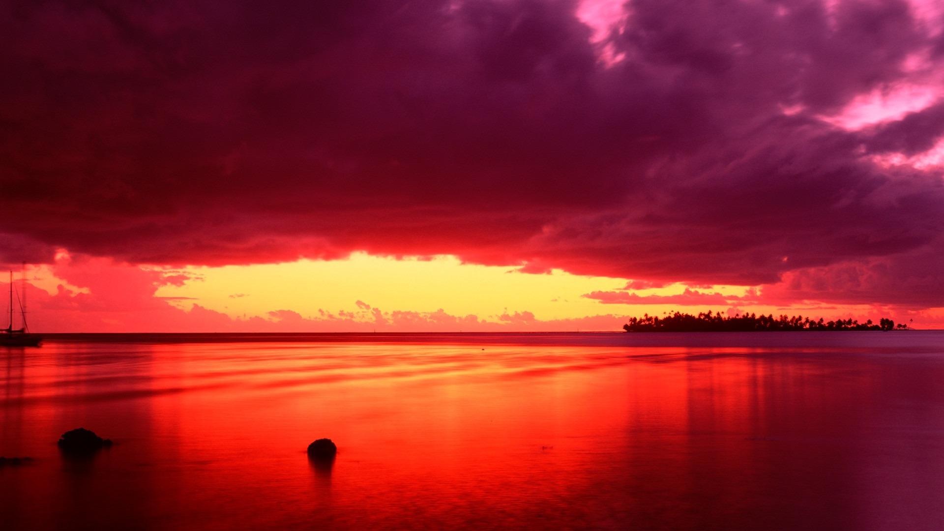 En mer rouge brillant fond d&39;écran coucher de soleil ...