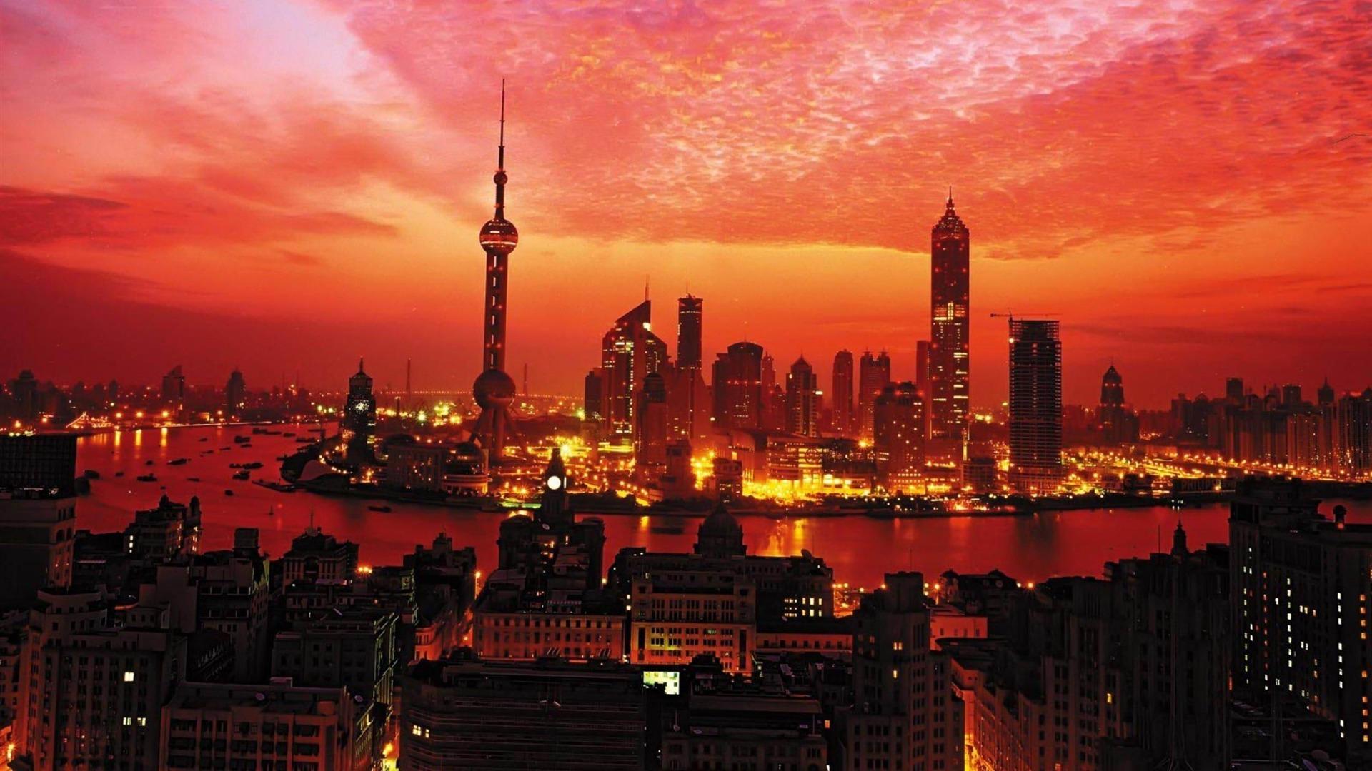 上海サンセット中国 都市建築の壁紙プレビュー 10wallpaper Com