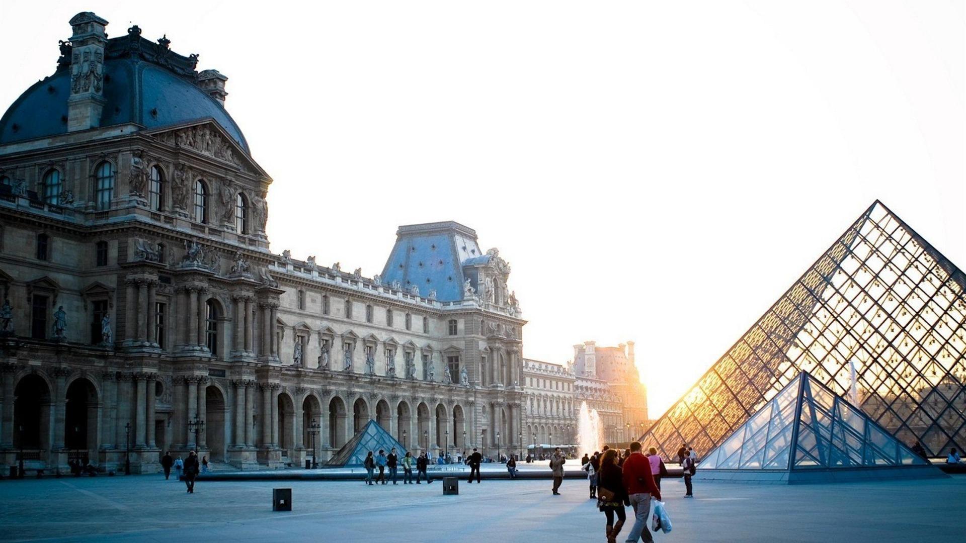 Mus e du louvre france paris fond d 39 cran paysage urbain for Paris paysage