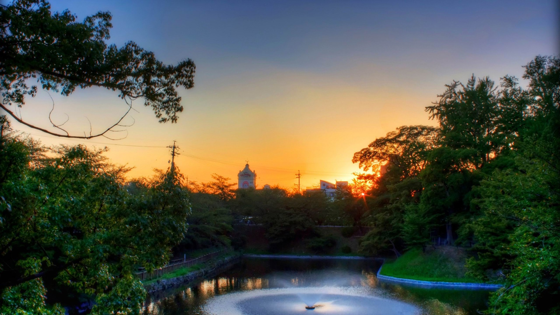 Pond Sunset Japanese Landscape Wallpaper Preview