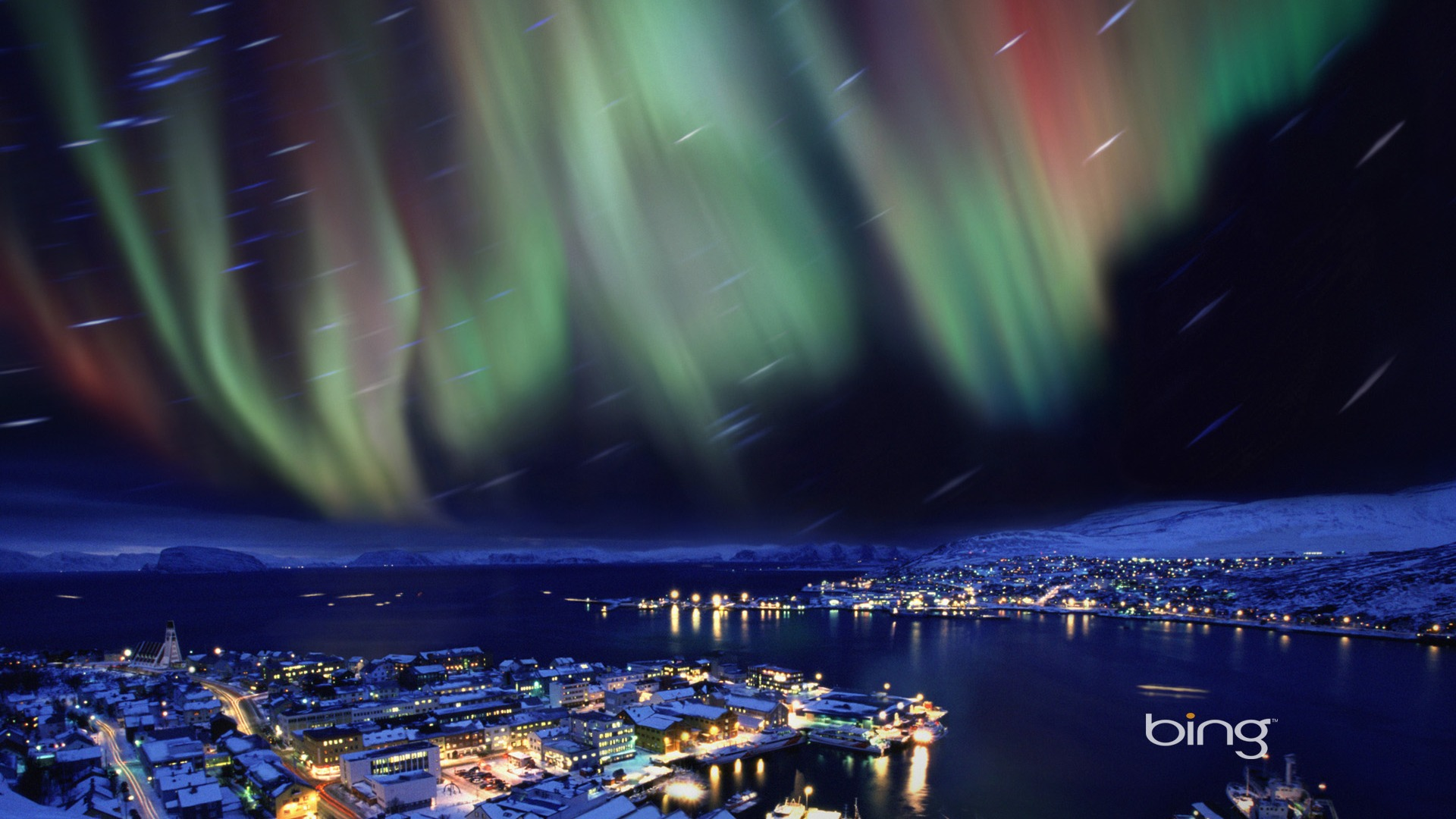 Hammerfest Norway Northern Lights over-Bing Wallpaper - 1920x1080