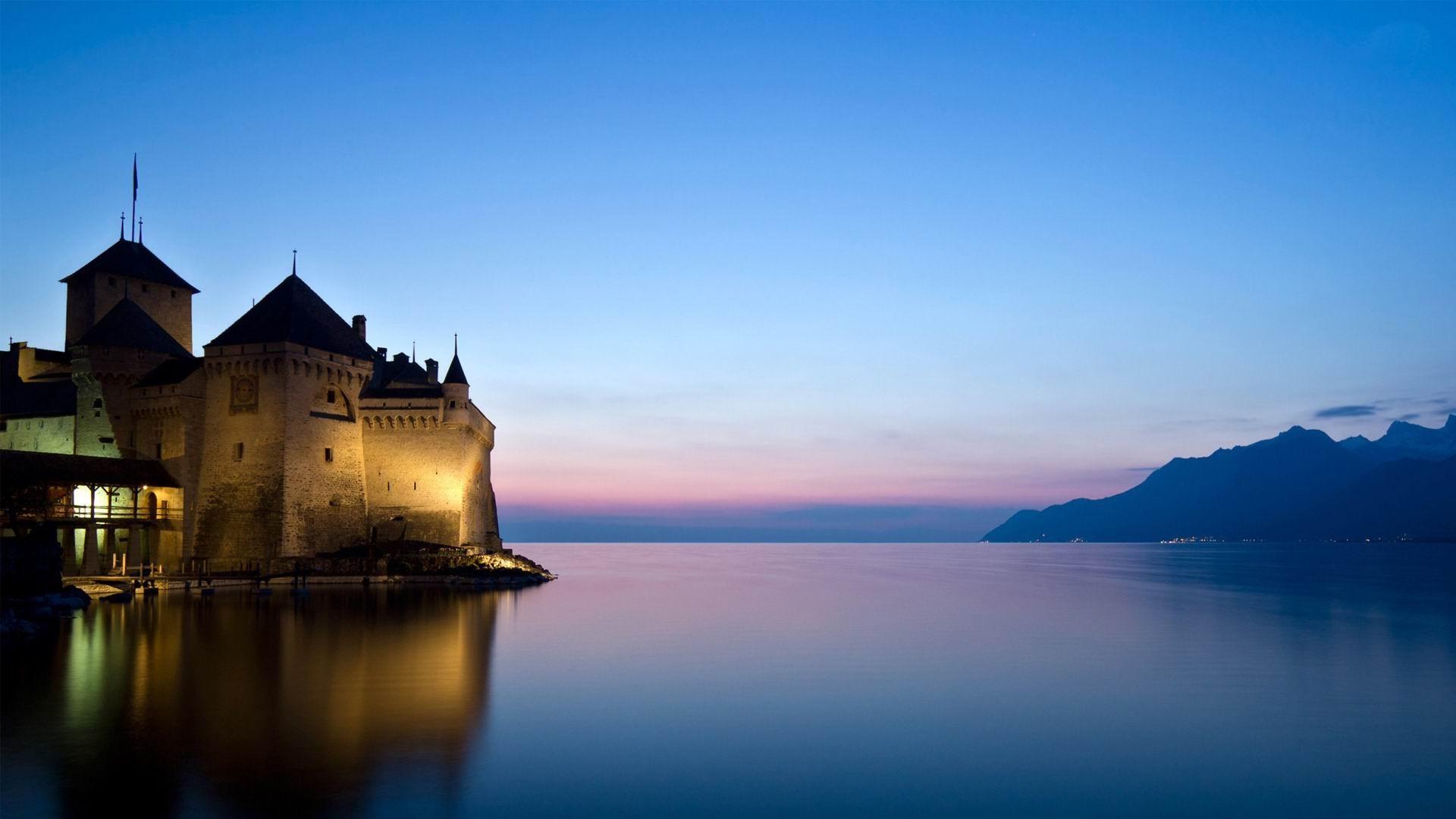 空岛_西庸城堡瑞士-世界风景高清摄影壁纸预览 | 10wallpaper.com