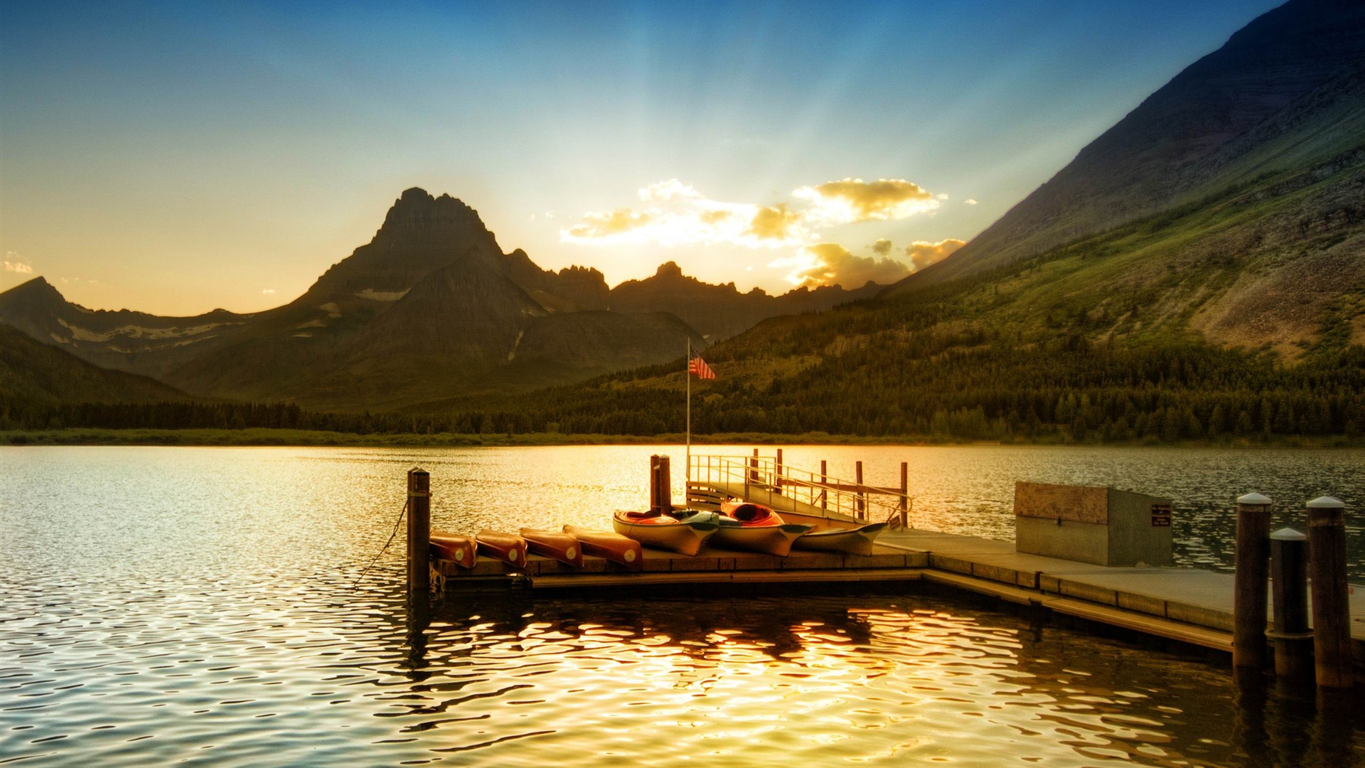 Sunset At Glacier National Park Lakeside Scenery Hd
