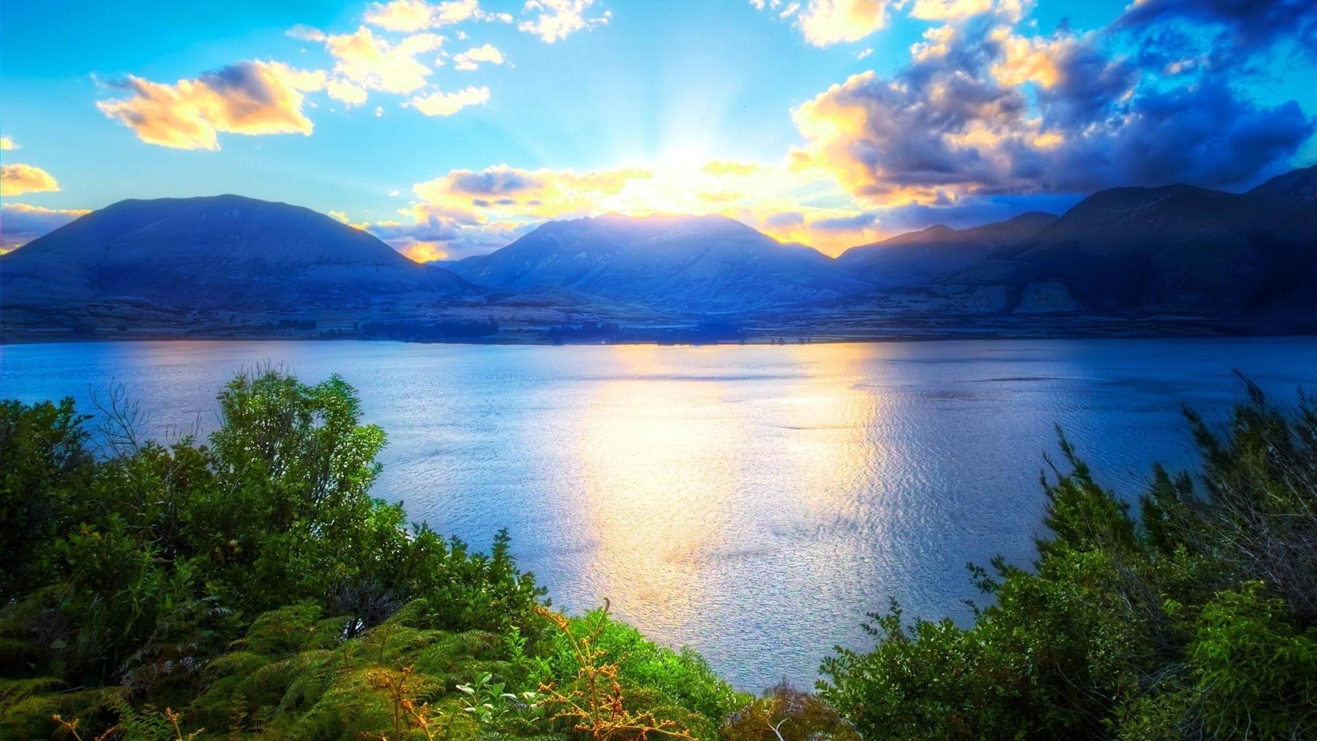 Mountains Sun Light Clouds Vegetation Natural Scenery Hd