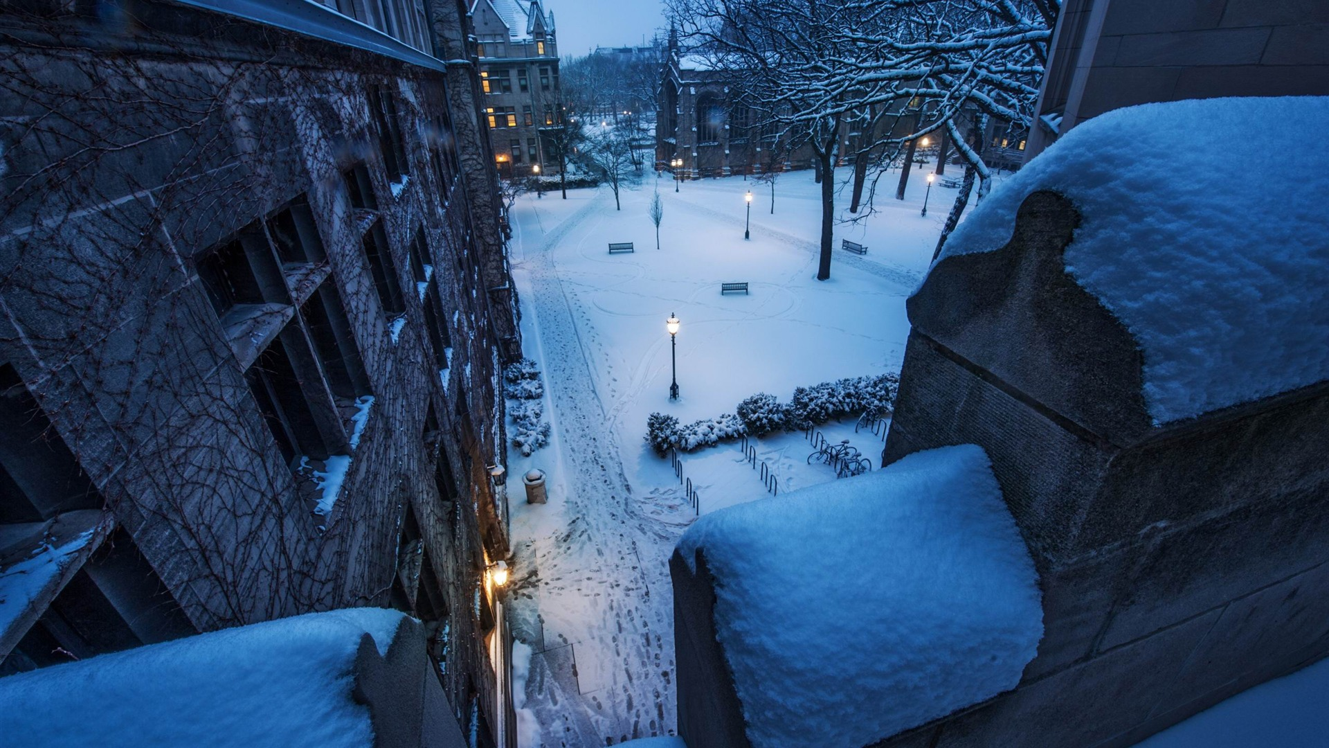 Fresh snow on the balcony-landscape photography wallpaper - .