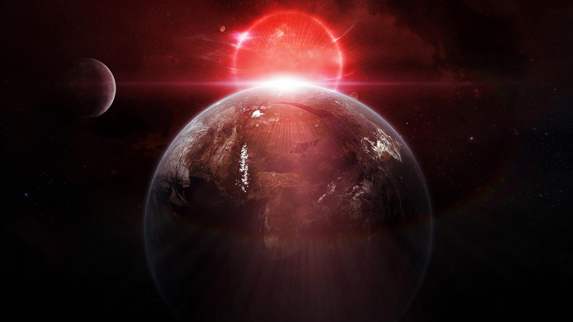 Red Sun Space Planet Universe Hd Wallpaper Preview 10wallpaper Com